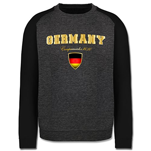EM 2016 - Frankreich - Germany Europameister 2016 - Herren Baseball Pullover Dunkelgrau Meliert/Schwarz
