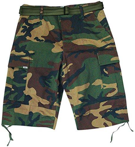 McAllister US Army Bermudas Short inkl. Gürtel Kurze Outdoor Sommerhhose Freizeithose verschiedene Farben & Größen XL,Woodland (Commando Kostüme)