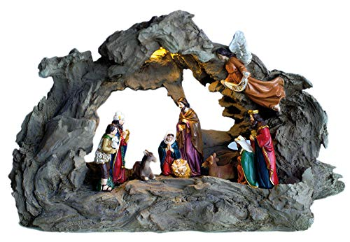 Flambeaux presepe di Natale Luminosa Completa con Tutte Le Figurine di Natale-Illuminazione a LED