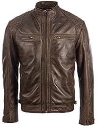 Giacca da uomo motociclista 100% vera pelle super morbida spalle con imbottitura trapuntata di MDK