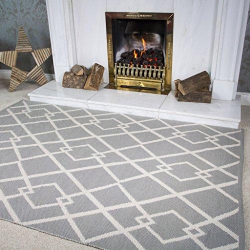 Colwyn Tappeto Grigio Motivo Geometrico Contemporaneo Semplice in Cotone Viscosa per Soggiorno 120cm x 170cm