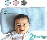 ANURI® | Baby-Kissen gegen Plattkopf und Kopfverformung I 2-SCHICHTEN Protect System | Baby-Kopfkissen aus Anti-Allergen Memory Schaum | 0-24 Monate | 2 Kopfkissenbezüge | Himmelblau