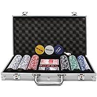Display4top Pokerkoffer 300 Chips Laser Pokerchips Poker 12 Gramm, 2 Karten, Händler, Small Blind, Big Blind Tasten und 5 Würfel, mit Aluminium-Gehäuse