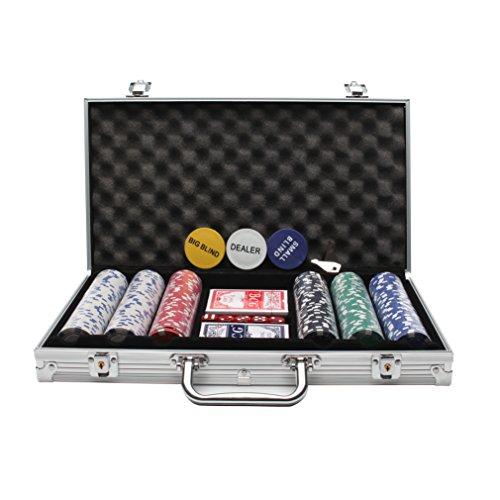Display4top Set de Poker 300 jetons Laser Haute qualité 12 g Noyau en Métal, avec étui en Aluminium, 2 Jeux de Cartes, revendeur, Petit Store, Gros Boutons aveugles et 5 Dés