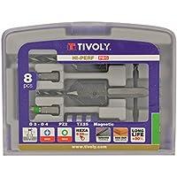 Tivoly 11900670002 Kit d'outils contenant forets/fraises à noyer/embouts de vissage/porte-embouts, Gris, Set de 5 Pièces