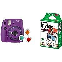 Fujifilm Instax Mini 9 Purple Fotocamera per Stampe, Formato 62 x 46 mm, Viola & Instax Mini Film Pellicola Istantanea…