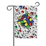 HEOEH - Bandera Decorativa de Doble Cara para el jardín o el hogar, diseño de Cubos de Rubik, 30,5 x 45,7 cm