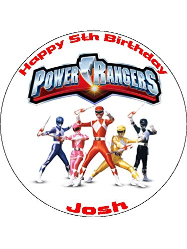 "Image of Power Rangers 7.5"" Round personalised birthday cake topper printed on icing"