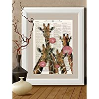 Stampa Giraffe e buble gum su pagina di libro antico