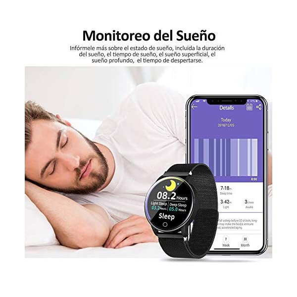 NAIXUES Smartwatch, Reloj Inteligente IP67 con Presión Arterial, 10 Modos de Deporte, Pulsómetro, Monitor de Sueño, Notificaciones Inteligentes, Smartwatch Hombre Mujer para iOS y Android (Negro) 5