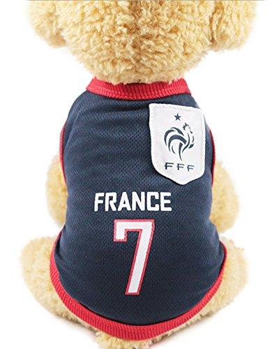 GabeFish Hund World Cup T Shirt Pets Fußball Jersey Sport Fußball National Team Weste Katze Summer Cool Kleidung Bekleidung, XL (Chest 19