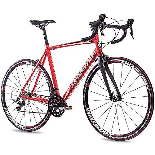 CHRISSON 28 Zoll Rennrad Road Bike - Reloader rot 56 cm mit 18 Gang Shimano Sora Schaltung - Straßenrennrad mit Carbon Gabel für Damen und Herren