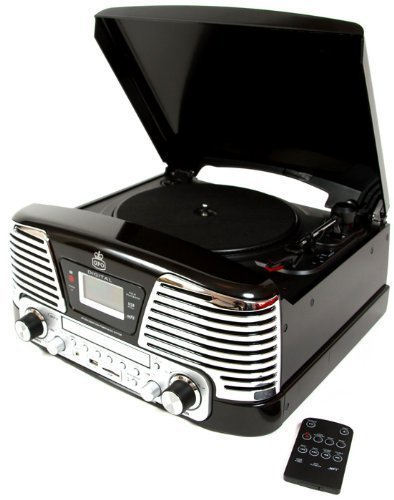 GPO Memphis Retro Turntable Mp3 Black Music Player