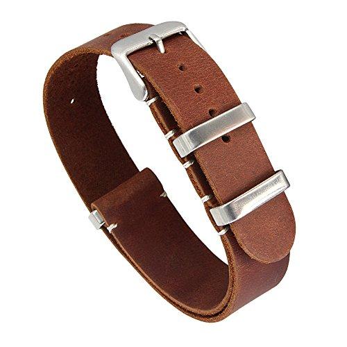 22 millimetri decente artigianali cinturini in pelle vintage uomini squisiti di sostituzione cuoio conciato marrone scuro