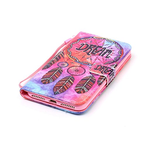 Hülle für iPhone 7 Plus, Tasche für iPhone 7 Plus, Case Cover für iPhone 7 Plus, ISAKEN Malerei Muster Folio PU Leder Flip Cover Brieftasche Geldbörse Wallet Case Ledertasche Handyhülle Tasche Case Sc Dream Federn