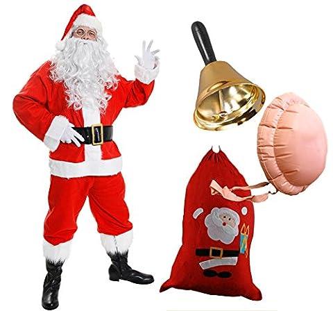 Déguisement de Père Noël deluxe de 13 pièces en velours pour adulte. Ideal pour les fêtes de fin d'année. ( XXLarge