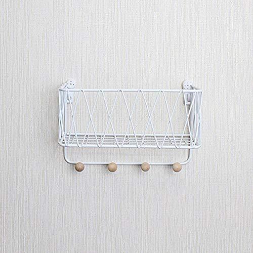 Korb Montierte Dekoration Kleinteile Display Rack Indoor Anhänger Eisen Hängekorb Innovative Blumentopf Regal Schmiedeeisen Wand Weiß ()