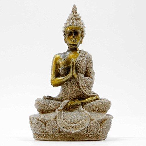 Figura Escultura Figura Buda tallada mano Buda arenisca Meditación 9,5cm