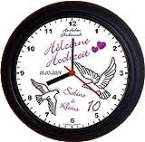 Lucky Clocks TAUBEN ZUM 5. Hochzeitstag Hölzerne Hochzeit lila Wanduhren für jeden Anlass mit jeder Beschriftung und jedem Namen und Vornamen erhältlich