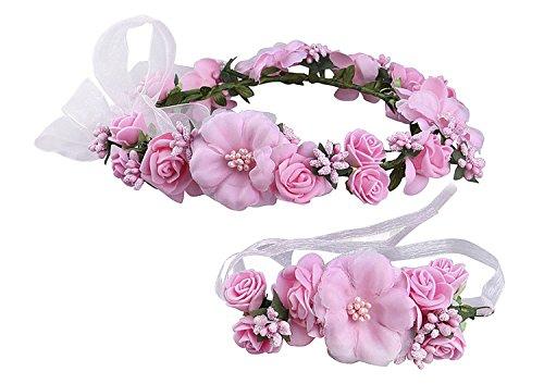 enkranz Blumenstirnband Blumenkrone Haarkranz Garland Halo mit Floral-Handgelenk-Band für Braut Fotografie Hochzeit Festival Pink ()