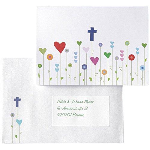 15 Einladungskarten, Dankeskarten, Glückwunschkarten Kommunion/Konfirmation/Taufe - Gottes Wiese - inkl. Umschläge, Adressetiketten, Testblätter, Onlinevorlagen zum einfachen Selbstbedrucken