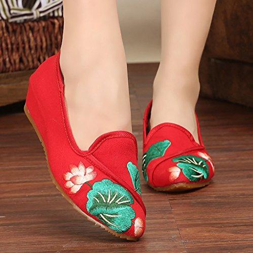 Frauen bestickte Schuhe nationale Art Retro dünne Schuhe ( Farbe : Rot , größe : US:5.5\UK:4.5\EUR:36 )