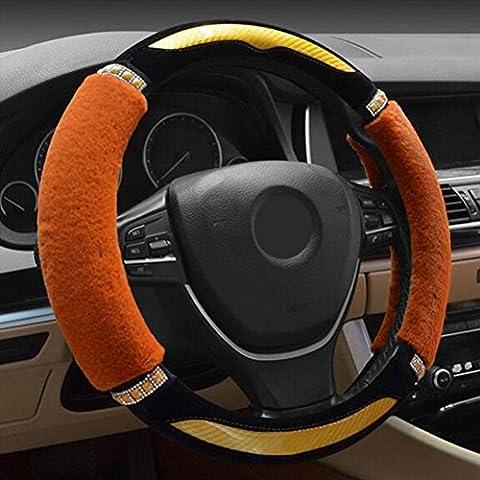 Fluffy Car Steering Wheel Cover Universal Winter Plush Direction Chaude Avec Carbon Fiber Acrylic Diamond For Winter Yellow