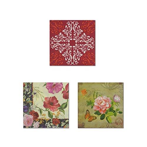 Einweg farbigen Blumendruck Papier Servietten 2-lagig für Partys und Events (je 3Motive sortiert, 20-count)