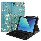 Fintie Blade X 1 Samsung Galaxy Tab S3 9.7 Bluetooth Tastatur Hülle Keyboard Case - Ultradünn leicht SlimShell Ständer Schutzhülle mit magnetisch abnehmbarer drahtloser deutscher Bluetooth Tastatur für Samsung Galaxy Tab S3 T820 / T825 24,58 cm (9,68 Zoll) Tablet-PC, Mandelblüten