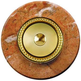 SONNETTE MARBRE - Marbre rond rouge avec collerette laiton perlé
