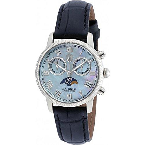 S Coifman SC0355 Ladies Black Leather Chronograph Watch