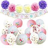 AMZTM Decorazioni Baby Shower per Ragazze - Kit di Forniture per Feste A Tema Unicorno IT'S A GIRL Striscioni Pom Pom di Carta Palloncini di Lattice di Coriandoli