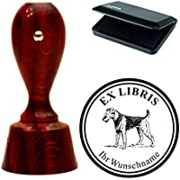 Esclusivo ex libris Set Timbri « Airedale Terrier 02» rotondo mogano colori con timbro cuscino exlibris exlibris–Cane animale domestico