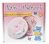 3D Erinnerung - Baby Abdruck Set für Mädchen inkl. hochwertiger Metallgeschenkdose, Gipsabdruck für Hand & Fuß, dekorative Geschenkidee für JEDERMANN