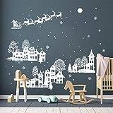 ufengke Adesivi Notte di Natale Silhouette Bianca Vetrofanie Adesivi Babbo Natale Fiocchi di Neve per Feste Supplies Tema Natalizio Decorazione