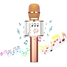 Wireless Karaoke Microphone, NASUM 4-in-1 Portable Wireless Bluetooth Karaoke Microphone and Speaker, Handheld Karaoke Microphone for Home KTV,Outdoor Party Music Playing and Singing, Recording, for PC/ Phone, Android /IOS(Rose Gold)