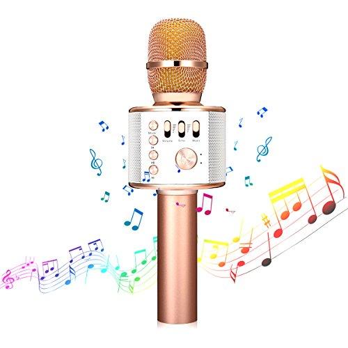Microphone Karaoké sans Fil NASUM de CHARIMALIY Bluetooth 4.1 Haut-parleur Intégré 3-en-1 Machine Portable pour Smartphone Android/iPhone/iPad/PC, pour Chanter Karaoké Enregistrement Or Rose