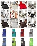 155x220 Bettwäsche Renforce Baumwolle 4 tlg. Set in verschiedenen Designs ✔ 155x220 Bettbezug ✔ mit 80x80 Kissenbezug ✔ 100% Baumwolle (4 tlg. 155x220, Stahlgrau/Petrol)