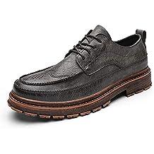 Oxford clásico para Hombre Mocasines Casuales cómodos con Cordones Estilo británico Zapatos de los Planos Microfibra