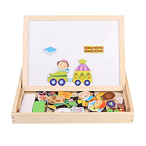 Wooden Kids Toys Magnetic Educational Drawing Easel Chalkboard Toy Double-face Dry Erase Board Puzzle Games for Child ( Farm
