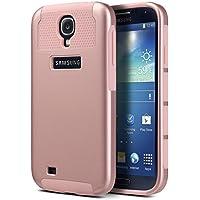 Carcasa S4, ULAK Galaxy S4 Funda Case doble capa del Silicona de alta Resistencia del Carcasa de Shell para Samsung Galaxy S4 (Rosa Oro)