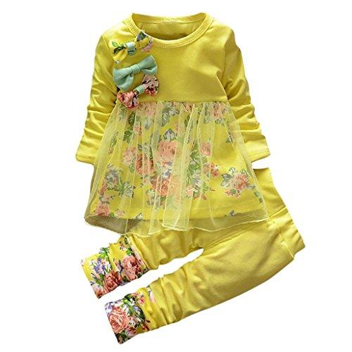 lylong® 1 Set (0-3 Jahre alt) Baby Mädchen Blumen Drucken Anzug (Tops + Hosen) Kleid Herbst Outfits Kleiderset Suit Sets Babykleidung (120CM(2-3 Jahre alt), Gelb) (Ziel-mädchen Kostüme)