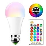 E27 RGB LED Farbwechsel Lampe 15W Bunte Glühbirnen mit Fernbedienung AC 85-265V RGB + Warmweiß 2700K Bühnenlicht DJ Disco Club Party Pub Hause LED-Lampe (Batterien nicht enthalten)