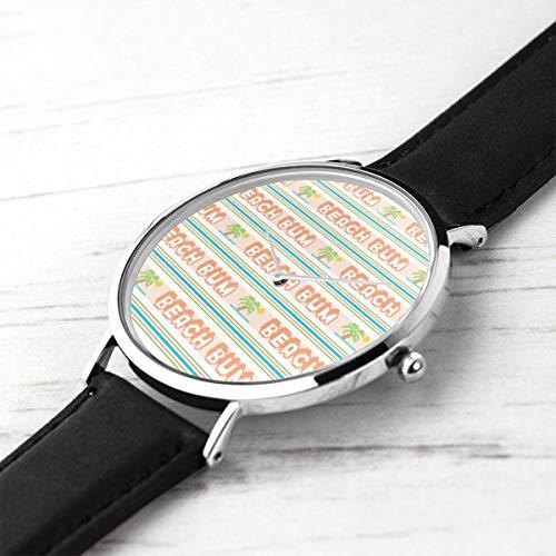 Knit Tee (Men's Ultra Thin Fashion Minimalist Wrist Watches Um Polyester Jacquard Stripes Pixel Vintage Double Knit Retro Groovy Tee Waterproof Quartz Casual Watch Mens)