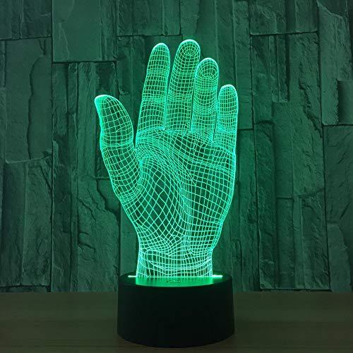 3D Illusion Lampe Hand LED Nachtlicht, USB-Stromversorgung 7 Farben Blinken Berührungsschalter Schlafzimmer Schreibtischlampe für Kinder Weihnachts geschenk - C6 Mit Blauem Led-licht