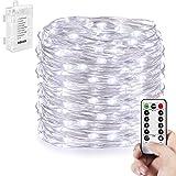 KOLIER 10m Batterie Lichterkette, 100 LEDs Lichterketten Kupferdraht Wasserdicht mit Fernbedienung Timer - Weiß