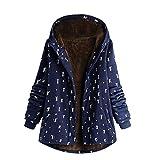 NEEKY Damen Winter Warme Jacke Outwear Lässiger Print Taschen Kapuze Oberbekleidung Frauen Vintage Oversize Hasp Mäntel(EU:52/4XL, Dunkelblau)