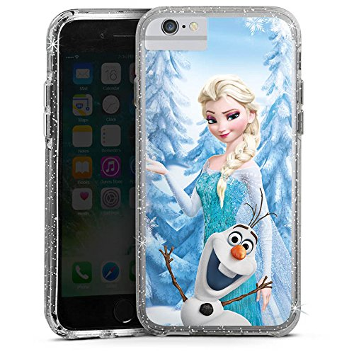 Apple iPhone 8 Bumper Hülle Bumper Case Glitzer Hülle Disney Frozen Elsa & Olaf Geschenke Merchandise Bumper Case Glitzer silber