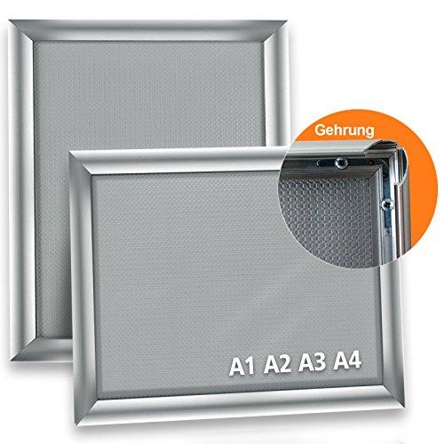 Master of Boards Alu Klapprahmen Plakatrahmen Wechselrahmen Bilderrahmen Ladeneinrichtung Silber Aluminium Rahmen für Plakate Rahmen für Bilder Rahmen Aushang Klicksystem (Gehrung, DIN A4)