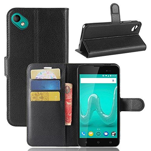 Handyhülle für Wiko Sunny 2 Plus 95street Schutzhülle Book Case für Wiko Sunny 2 Plus, Hülle Klapphülle Tasche im Retro Wallet Design mit Praktischer Aufstellfunktion - Etui Schwarz